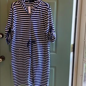 Lands End Striped Hooded Full Zip coverup Sz 1X